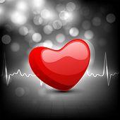Cardiograma con forma de corazón rojo sobre fondo gris. EPS 10.