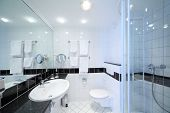 stock photo of toilet  - Stylish modern bathroom with shower - JPG