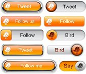 Bird orange web buttons for website or app. Vector eps10.