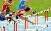 BARCELONA- JULY, 10: Shunya Takayama(R) of Japan during 110m men hurdles event of the 20th World Jun