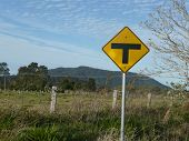 Give-Way Sign In Country Lane On Way Into S.W. Rocks, Nsw.