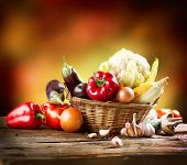 Healthy Organic Vegetables Still life Art Design