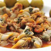 una placa con berberechos, berberechos españoles, sirvió como aperitivo con vinagre y pimentón