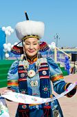 ULAN-UDE, RUSSIA - SEPTEMBER 15: Cultural program of Baltic Economic Forum. An unidentified woman in