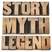 story, myth, legend - storytelling concept -  isolated words in vintage letterpress wood type
