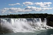 American Side Of Niagra Falls With Blue Sky