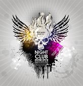 Grunge banner with an inky dribble strip and skull, wings, copy space. Abstract background for party