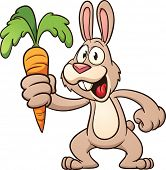 Cute cartoon rabbit holding a carrot. Vector illustration with simple gradients. All in a single layer.