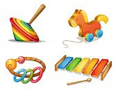 stock photo of idiophone  - illustration of various toys on a white background - JPG