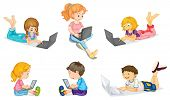illustration of a laptops and kids on a white background