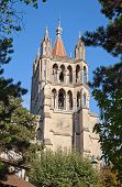 Ancient cathedral in Lausanne, dominating the cityscape