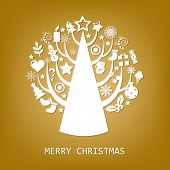 Merry Christmas Golden Card With Stars, Vector Illustration