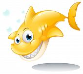 Illustration of a golden yellow shark on a white background
