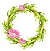 Illustration of a green border with pink flowers on a white background