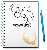 Illustration of a notebook with a drawing of a wrestler on a white background