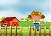 Illustration of a farmer holding a hoe inside the wooden fence with barn