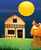Illustration of a wooden farm barn