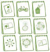 Ilustração dos notebooks com desenhos verdes na página de rosto em fundo branco