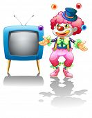 Illustration of a clown standing near the T.V. on a white background