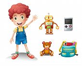 Illustration of a young boy and his toys on a white background
