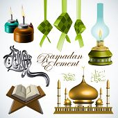 3D Ramadan Element. Translation of Jawi Text: Eid Mubarak, May you Enjoy a Blessed Festival