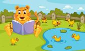 Illustration of a tiger reading beside a pond with ducklings
