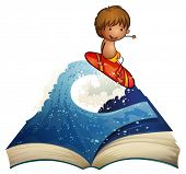 Illustration of a book with a story about a surfer on a white background