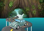 Ilustración de una carretera curva pasando por la cueva