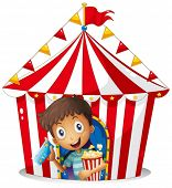 Illustration of a young boy with a ticket and a popcorn near the tent on a white background