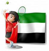Illustration of a tired athlete player in front of the UAE flag on a white background