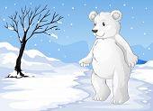 Illustration of a polar bear freezing