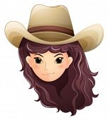 Illustration of a pretty face of a cowgirl on a white background
