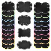 Vector Set of White and Rainbow Chalkboard Frames