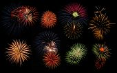 image of firework display  - Collage of festive fireworks display at dark night sky - JPG