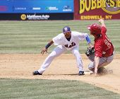 Altoona Curve batter Jarek Cunningham is out a second base