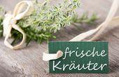 Label With Frische Kr�uter On It