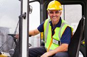 cheerful middle aged forklift operator
