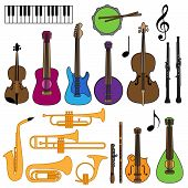 stock photo of piccolo  - Bright and Colorful Vector Collection of Musical Instruments - JPG
