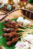 Beef satay, roasted meat skewer Malay food. Traditional Singapore food. Hot and spicy Singaporean di