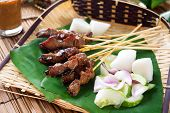 Satay or sate, skewered and grilled meat, served with peanut sauce, cucumber and ketupat, Malaysia o