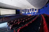 MOSCOW - NOVEMBER 9: Side view of auditorium in Neva cinema, on November 9, 2012 in Moscow, Russia.