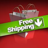 Shopping bags with a banner stating free shipping