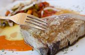 Tuna Steak With Carving Fork.