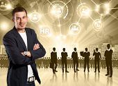 HR concept. Business man choosing the employee