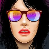 Woman beauty face in sunglasses, drawing fashion illustration.