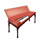 A Retro Clavichord Isolated On White Background