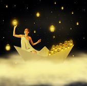 stock photo of kerosene lamp  - Young sexy woman goddess floating on clouds in a paper boat and hanging stars in night sky - JPG