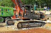 Destroyed excavator