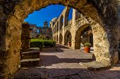 picture of arch  - Interesting View Through an Arch of the Meditation or Prayer Garden and Arched Pathway of the Historic Old West Spanish Mission San Jose - JPG