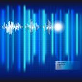 Fundo azul médico de eletrocardiograma ECG. Vector.